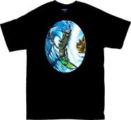 BT73 BigToe Moai Surf T Shirt, Tiki Surfer Image