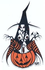 PGS76 Pigors Evil Pumpkin Witch Sticker