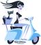 Shag Scooter Cat Girl Sticker, Vespa, Cat Basket, Brunette