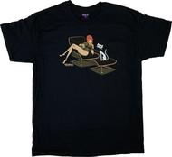 SH124 Shag Eames Lounge T-Shirt, Eames Chair, Artist Shag, Josh Agle, Mid Century Modern, Girl, Cat, Guitar, Beautiful