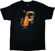 SH112 Shag Orange Martini Bird, Orange and Brown, Feathered Friend, Martini, Drink, Gin, Vodka, Olive, Skull, Skull Swizzle Stick, Image