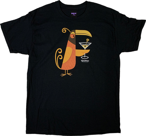 SH112 Shag Orange Martini Bird on Black T-Shirts
