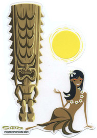 SHS128 Shag Hula Tiki Sun Sticker
