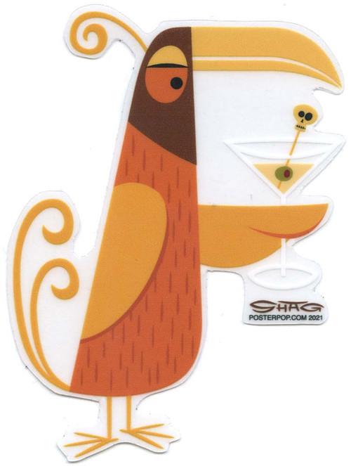 SHS112 Shag Orange Martini Bird Sticker