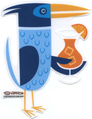 SHS111 Shag Blue Drinky Bird Sticker