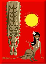 SHM128 Shag  Hula Tiki Sun Fridge Magnet Red
