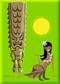 SHM128 Shag  Hula Tiki Sun Fridge Magnet Green