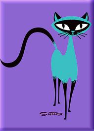 SHM122 Shag Siamese Cat Fridge Magnet Purple