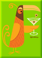 SHM112 Shag Orange Martini Bird Fridge Magnet Green