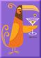 SHM112 Shag Orange Martini Bird Fridge Magnet Purple