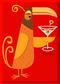 SHM112 Shag Orange Martini Bird Fridge Magnet Red