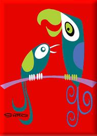 SHM110 Shag Birds Fridge Magnet Red
