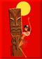 SHM102 Shag Hula Tiki Fridge Magnet Red
