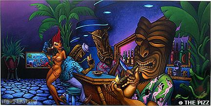 Pizz Tiki Bar Fine Art Print Image