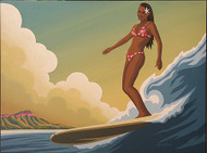 Almera Hawaiian Surfer Girl Original Painting Image