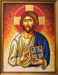 Almera Byzantine Jesus Original Painting Image