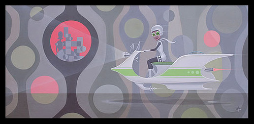Aaron Marshall Op Art Space Scooter Original Painting Image