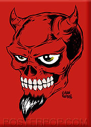 Forbes Devil Skull Fridge Magnet Red Image