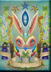 Aaron Marshall Magic Bunny Fridge Magnet Image