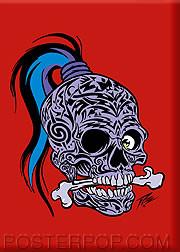 Pizz Tattooed Skull Fridge Magnet Image