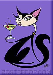 Pizz Martini Cat Fridge Magnet Image