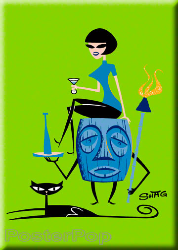 Shag Girl On Tiki Fridge Magnet Image