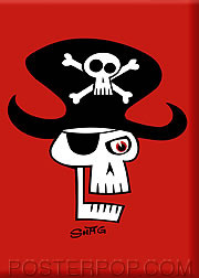 Shag Pirate Skull Fridge Magnet Image