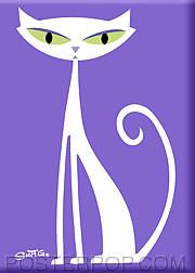 Shag White Cat Fridge Magnet Image
