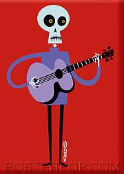 Shag Lucky Guitarist Fridge Magnet Image