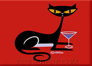 Shag Cocktail Kitty Fridge Magnet Image