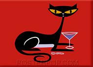 Shag Cocktail Kitty Fridge Magnet Image