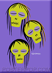 Shag Shrunken Heads Fridge Magnet Image