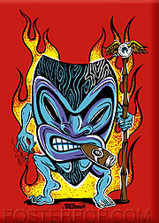Von Franco Smokin Tiki Fridge Magnet Image