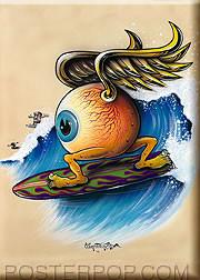 Von Franco Surfing Eyeball Fridge Magnet Image