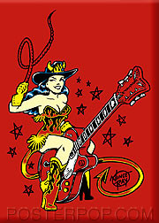Vince Ray Guitar Girl Fridge Magnet Image