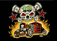 Vince Ray Skull n Rods Fridge Magnet Image