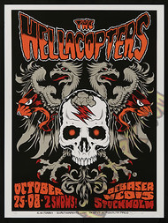Forbes Hellacopters 10-25-08 Sweden Silkscreen Concert Poster Image