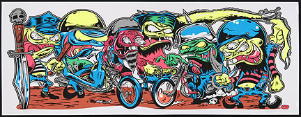 Dirty Donny Motor Cycle Gang Silkscreen Art Print Poster 2009 Image