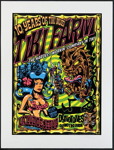 Dirty Donny Tiki Farm 10th Anniversary Dynotones Silkscreen Concert 2010 Image