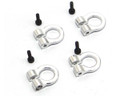 Hot Racing - 1/10 Scale Aluminum Silver Tow Shackle D-Rings (4) - ACC80808