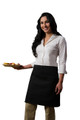 "Black Two Pocket Restaurant Server Half Bistro Waist Apron 19""L x 28""W Item # 350-110"