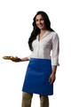 "Cobalt Blue Two Pocket Half Bistro Restaurant Server Waist Apron 19""L x 28""W Item # 350-110"
