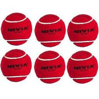 Nivia Hevay Cricket Tennis Balls - Pack of 6 Red Balls