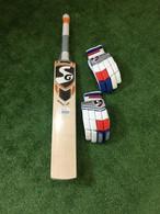 SG Sierra 250  English Willow Cricket Bat + Excelite RH Batting Gloves