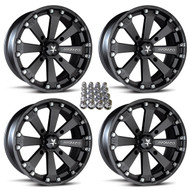 "(4) 14"" MSA M20 Kore Wheels w/ Lug Nuts - Matte Black"