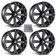 "(4) 14"" MSA M20 Kore Wheels w/ Lug Nuts - Matte Black"