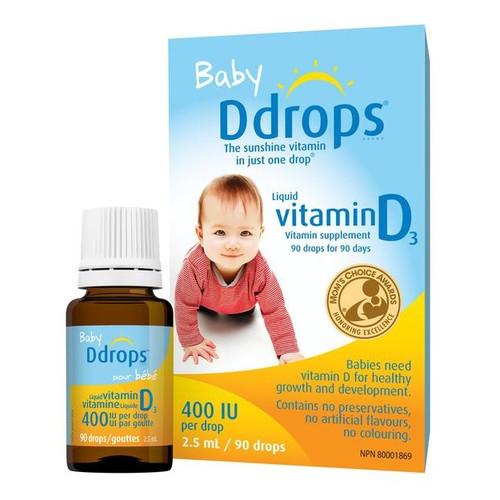 Baby Ddrops Vitamin D3, 90 Drops (2.5ml) - 嬰兒維他命D滴劑, 90滴 (2.5毫升)   LOTUSmart (HK) - 香港樂濤