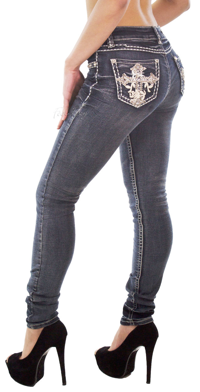 8862a85f8fb ... Feel Foxy Crystal Jeans. Image 1