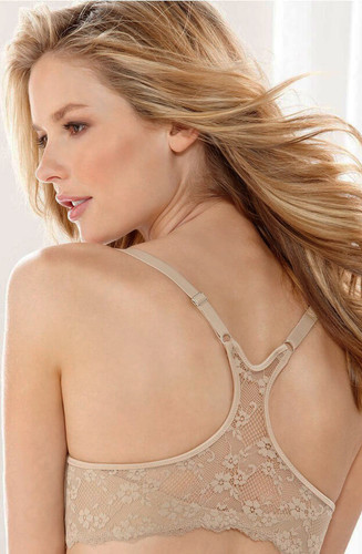Front Closure Extra Coverage Lace T-Back Bra