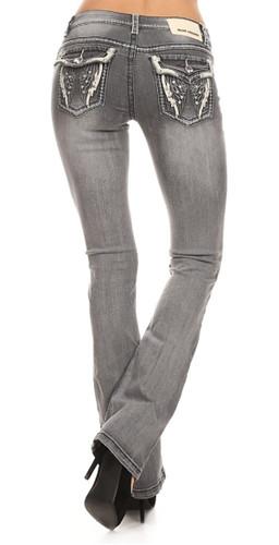 Angel Wings Rhinestone Jeans
